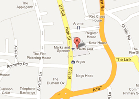 This map shows our location in Northallerton above the Darlington Building Society